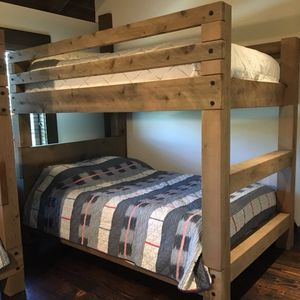rustic timber bunk bed