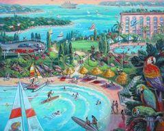Parrot Palm Paradise-32x40 Print On Canvas