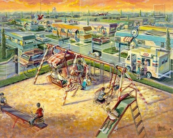 Indoor Outdoor Playground-Original Painting