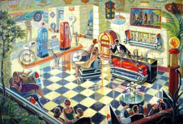 Full Service Station-24x36 Print On Canvas