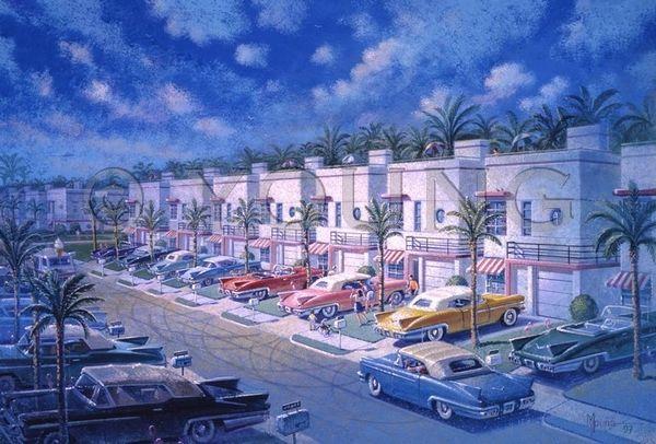 Condo Motel-24x36 Print On Canvas