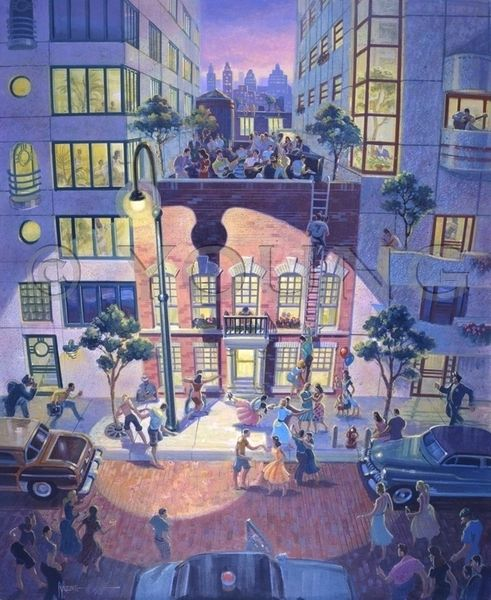 Block Party-30x24 Print On Canvas