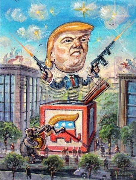 Trump In The Box-12x9 Canvas Print