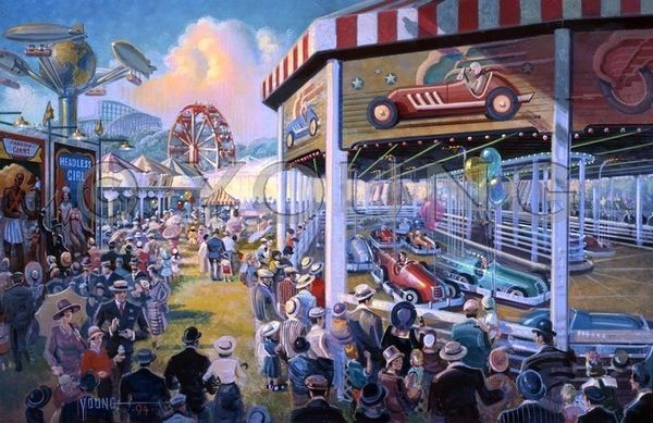 Midway By Day-20x30 Print On Canvas