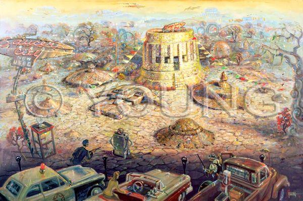 Saucer City-24x36 Print On Canvas