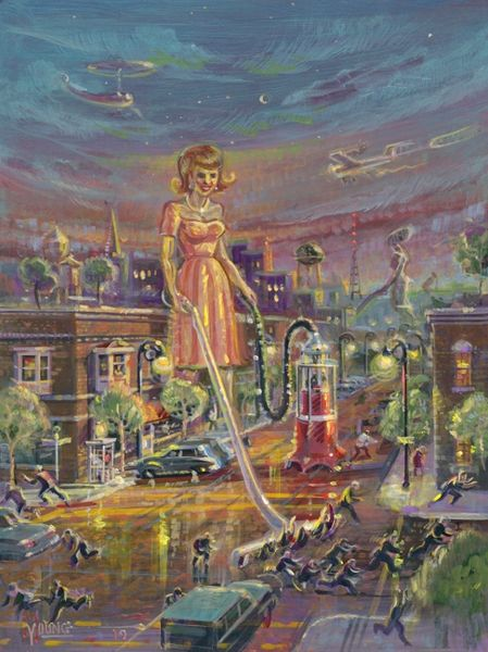 Attack Of The Fifty Foot Woman-24x18 Print On Canvas