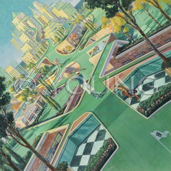 Urban Golfer-36x36 Print On Fine Art Paper