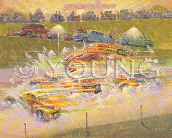 Crash At Lakeside-31x39 Print On Canvas