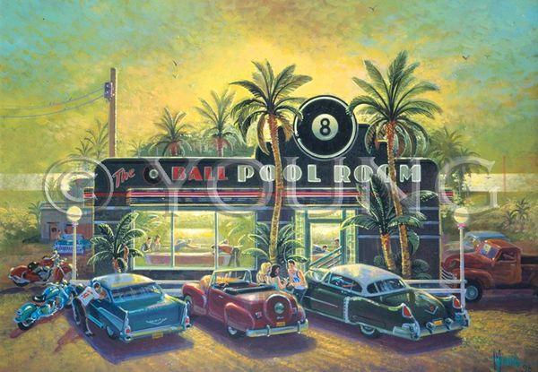Eight Ball Pool Room-24x36 Print On Fine Art Paper