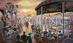 Midway At Night-18x30 Print On Canvas