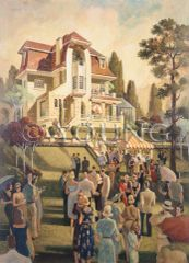 Lawn Party-36x26 Print On Canvas