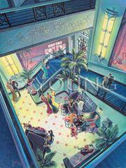 Flamingo Club-40x30 Print On Canvas