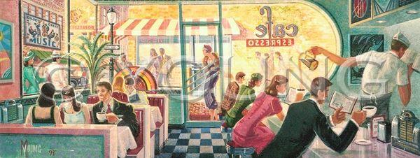 Dave's Diner-12x30 Print On Fine Art Paper