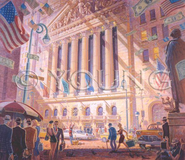 Wall Street-32x36 Print On Fine Art Paper