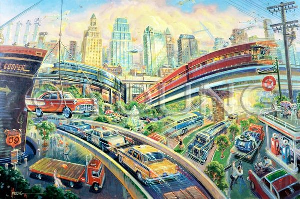 Kansas City Transportation-24x36 Print On Canvas