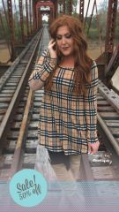 Camel Plaid Dress
