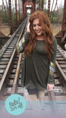 Olive Sequined Sleeve Tunic Dress