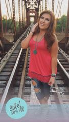 Coral Lace Trim Tunic Tank
