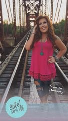 Hot Pink Lace Trim Tunic Tank
