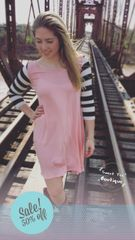 Light Pink Striped Sleeve Tunic Dress