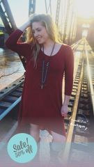 Burgundy Sweet Tee High Low Dress
