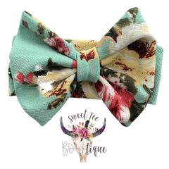 Teal Floral Baby Headband Bow