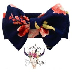 Navy Floral Baby Headband Bow