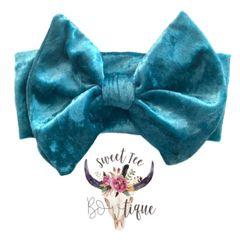 Turquoise Velour Baby Headband Bow