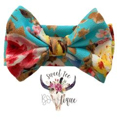 Turquoise Floral Baby Headband Bow