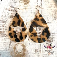 Animal Print Cow Skull Teardrop