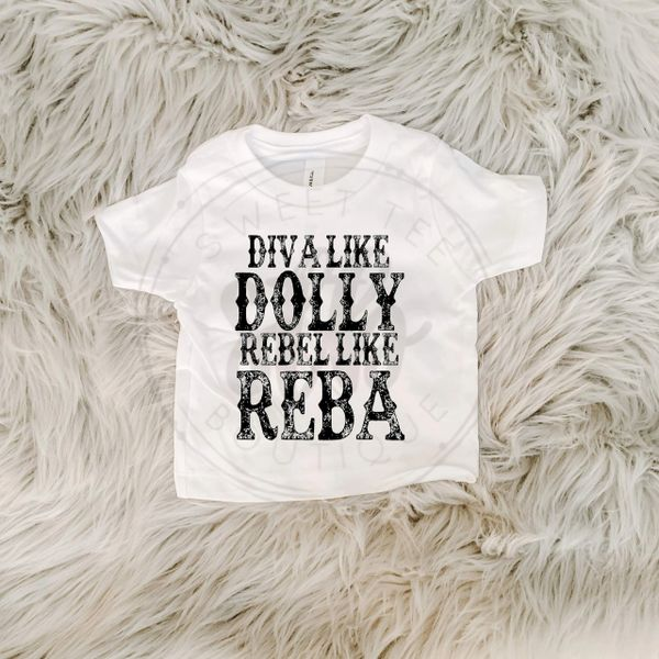 Diva Like Dolly Rebel Like Reba Baby Tee