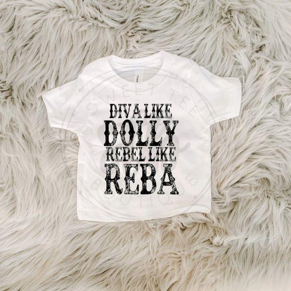 Diva Like Dolly Rebel Like Reba Baby Tee