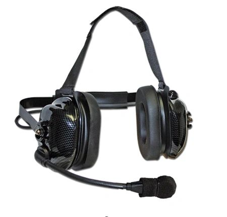 Carbon look flex boom headset