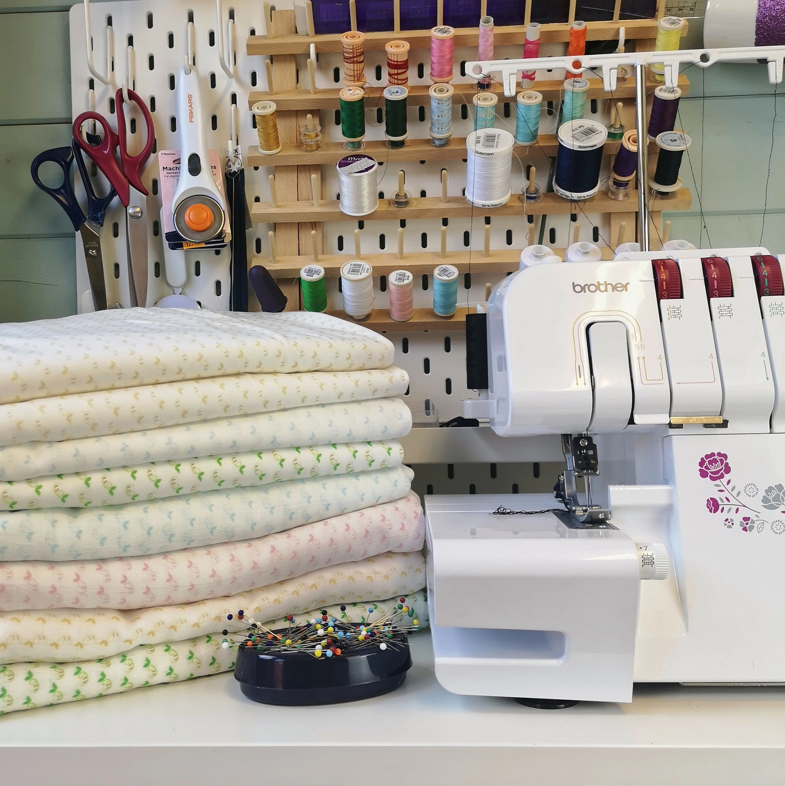 Our Little Beans Organic Clothing workshop, where we make organic cotton and bamboo blankets, muslin
