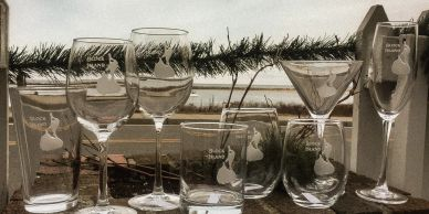 Block Island etched glassware. A variety of styles and sizes of Block Island etched glassware.