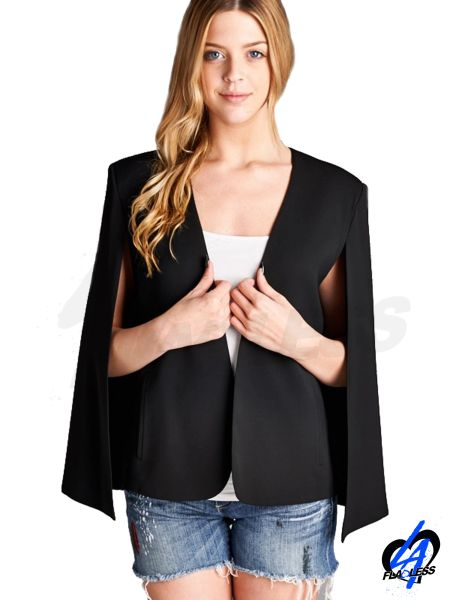 Collarless Cape Jacket
