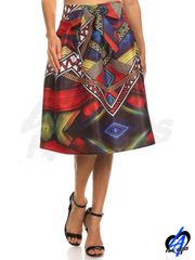 Tribal Midi Skirt w/Bow Front - Red