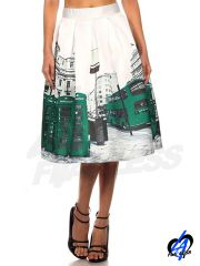London Telephone Booth Printed Skirt