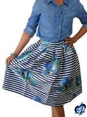 Flower Print Skirt - Navy