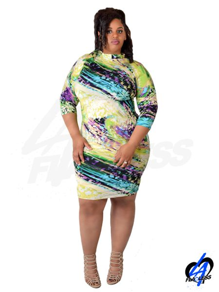 Abstract Floral Midi Dress (Plus Size)