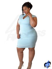 Sleeveless Midi Dress (Plus Size) - Baby Blue