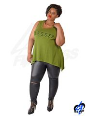 Faux Leather Leggings w/Knee Slit (Plus Size) - Black