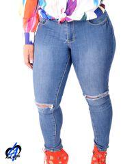 Rip Knee Skinny Jeans - Denim