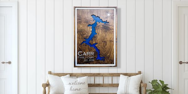 Custom Wood Lake Map Art. A carved lake art piece perfect for you lake home.
