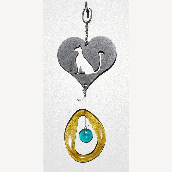 0835-M Cat Lover's Heart Metal Mini Chime
