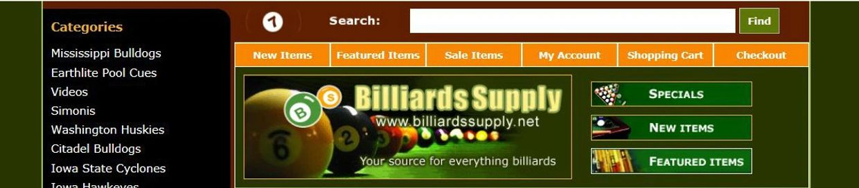 info on billiards supplies, game room items, collegiate products and more