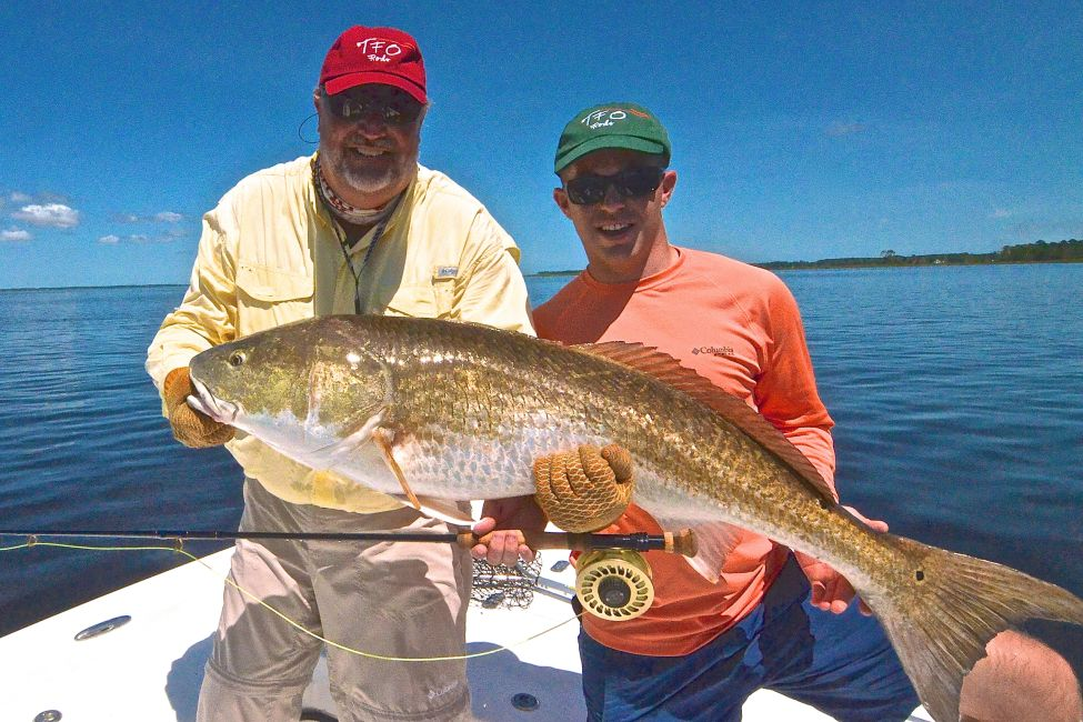 trophy redfish caught on Captai Gary Dubiel's Pop N Fly on the Neuse River in North Carolina