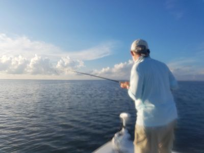 A NC trophy redfish hooked up on Capt. Dubiel's Pop N Fly