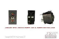 Switch with Amber/Amber LED's, SPST ON - OFF, No Rocker/Actuator