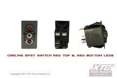 Switch with Red/Red LED's, SPST ON - OFF, No Rocker/Actuator
